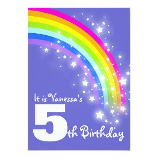 Kids purple pink rainbow 5th birthday invite
