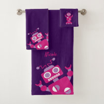 Kids Purple Pink Robot Personalized Fun Bath Towel Set