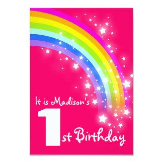 """Kids purple rainbow 1st birthday invite 3.5"""" x 5"""" invitation card"""