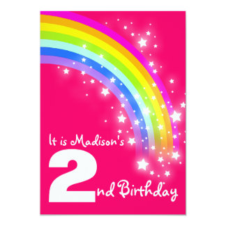 Kids purple rainbow 2nd birthday invite