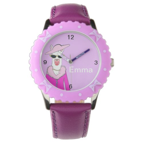 Kids Purple Strap Cute Lady Llama Watch
