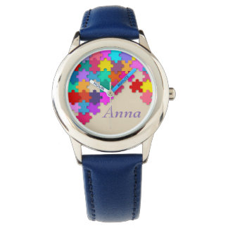 Kid's Puzzle Blue Leather Strap Watch