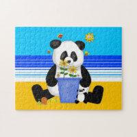 Kids Puzzle Panda At The Beach