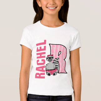 "Kids ""R"" Monogrammed | Pink Striped Raccoon T-Shirt"