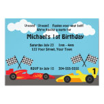 Kids Racing Birthday Party Custom Invitations