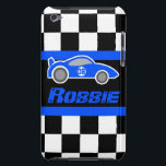 "Kids racing blue sports car named ipod touch case<br><div class=""desc"">Help protect your iphone from knocks and little accidents, with this ipod case. Original graphic auto sport iphone case for big and little boys. Perfect for budding auto motorsport fans and petrol heads. This uniquely designed case features graphic chequered flag and blue sports car. Customize with your name. Example reads...</div>"