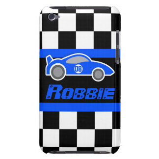 Kids racing blue sports car named ipod touch case