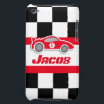 "Kids racing red sports car named ipod touch case<br><div class=""desc"">Help protect your ipod from knocks and little accidents, with this ipod case. Original graphic auto sport ipod touch case for big and little motor boys. Perfect for budding auto Grand Prix, and other motor sport fans and petrol heads. This uniquely designed case features graphic chequered flag and red sports...</div>"