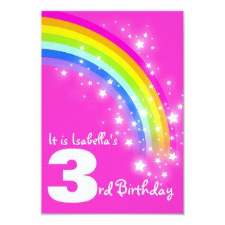 "Kids rainbow 3rd birthday pink birthday invite 3.5"" x 5"" invitation card"