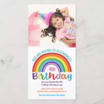 Kids Rainbow Birthday Custom Photo Invitation