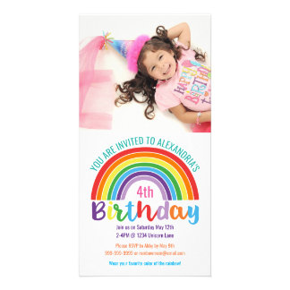 Kids Rainbow Birthday Party Colorful Custom Photo Card