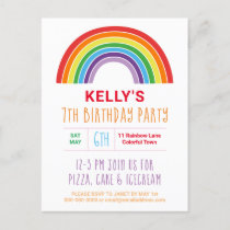 Kids Rainbow Birthday Party Colorful Girls Pretty Invitation Postcard