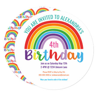 Kids Rainbow Birthday Party Colorful Pretty Girls Card