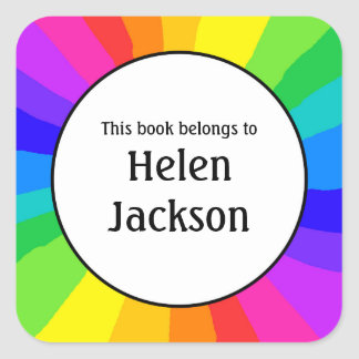 Kids rainbow bookplate book name sticker