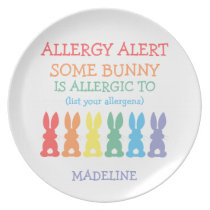 Kids Rainbow Bunnies Food Allergy Alert Cute Bunny Dinner Plate