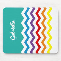 Kids Rainbow Chevron Colorful Fun Personalized Mouse Pad