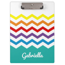 Kids Rainbow Chevron Colorful Pretty Personalized Clipboard
