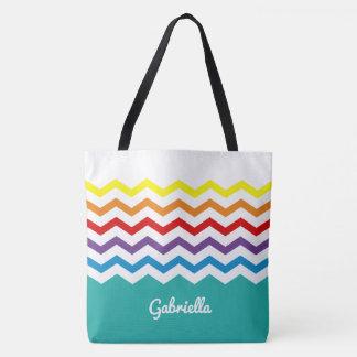 Kids Rainbow Chevron Colorful Pretty Personalized Tote Bag