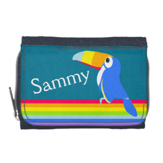 Kids rainbow colorful toucan bird name wallet wallet