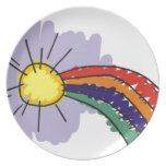 kids rainbow design melamine plate