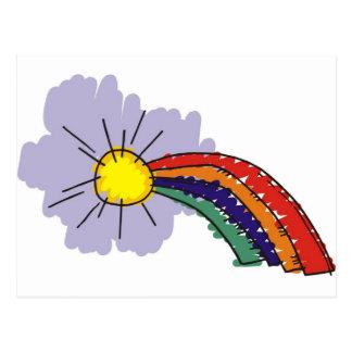kids rainbow design postcard