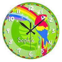 Kids rainbow macaw parrot name green wall clock