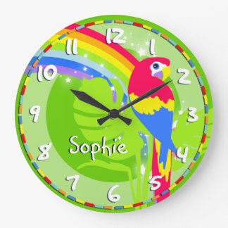 Kids rainbow macaw parrot name green wall clock