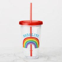 Kids Rainbow Personalized Girls Pretty Acrylic Tumbler