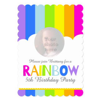 Kids rainbow photo cloud 5th birthday invite