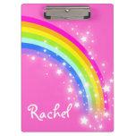 Kids rainbow stars pink named clipboard