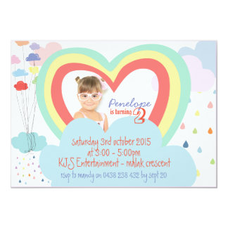 Kids Rainbow Theme Birthday Invitation