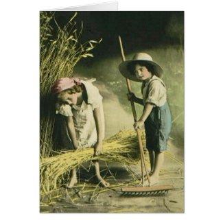 Kids Raking Hay 1903 Vintage Hand Colored card