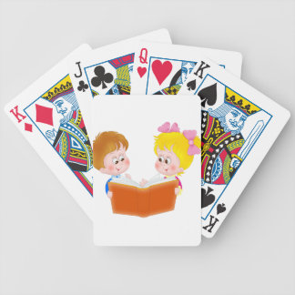 kids reading bicycle playing cards