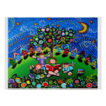 Kids Reading Books Folk Art Magic Poster Prints