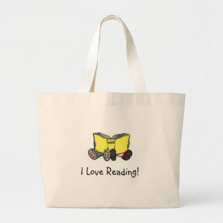 kids reading, I Love Reading! Large Tote Bag