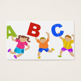 Kids Reading Writing Daycare Teaching Learning Business Card
