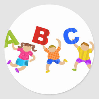 Kids Reading Writing Daycare Teaching Learning Classic Round Sticker