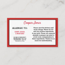 Kids Red Allergy Alert Restaurant Emergency Calling Card