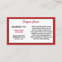 Kids Red Allergy Alert Restaurant Emergency Calling Card