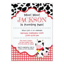 Kids Red Cow Farm Birthday Invitation