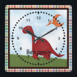 "Kids&#39; Red Dinosaur Wall Clock<br><div class=""desc"">Personalize this cute colorful wall clock featuring dinosaurs for a special child. . Just edit his or her  name in the easy Zazzle text editor with a simple click. Created in part with purchased graphics by Leah at www.digiwebstudio.com</div>"