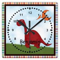 Kids' Red Dinosaur Wall Clock