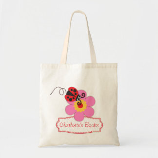 Kids red ladybug / ladybird flower library bag