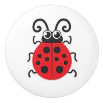 Kids red ladybug ladybird insect graphic doorknob ceramic knob