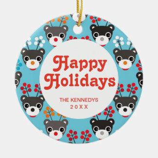 Kids Red Nosed Reindeer Pattern Ceramic Ornament