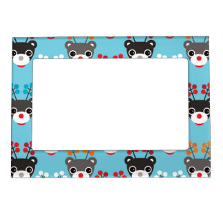 Kids Red Nosed Reindeer Pattern Picture Frame Magnet