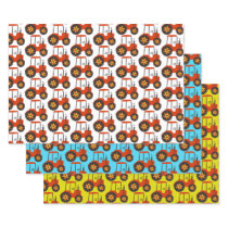 Kids Red Tractor Birthday Blue Yellow White Wrapping Paper Sheets