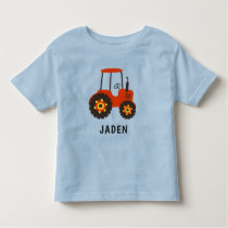 Kids Red Tractor Personalized Farm Vehicle Toddler T-shirt