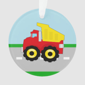 Kid's Red/Yellow Dump Truck on Road Ornament