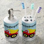 Kid's Red/Yellow Dump Truck on Road Toothbrush Holders